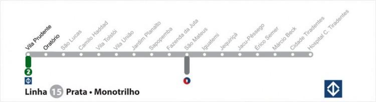 Mapa de estações da Linha 15-Prata