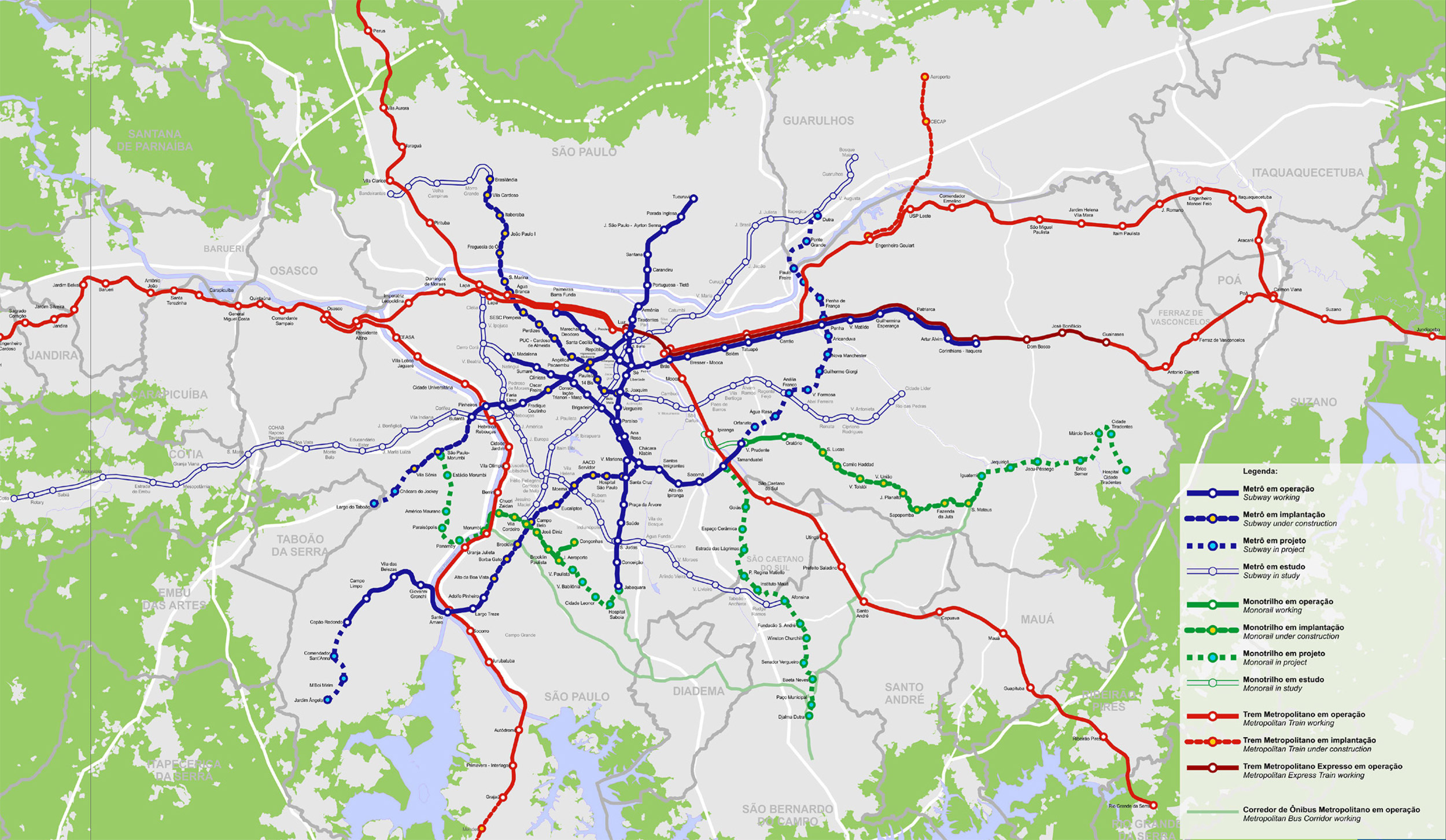 Mapa com os planos do Metrô publicado no Relatório de Sustentabilidade 2014