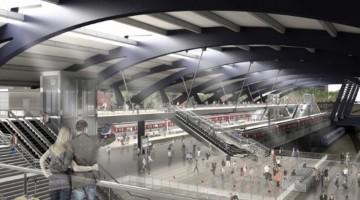 Visão do interior da Estação Parque da Móoca: plataforma dos trens regionais
