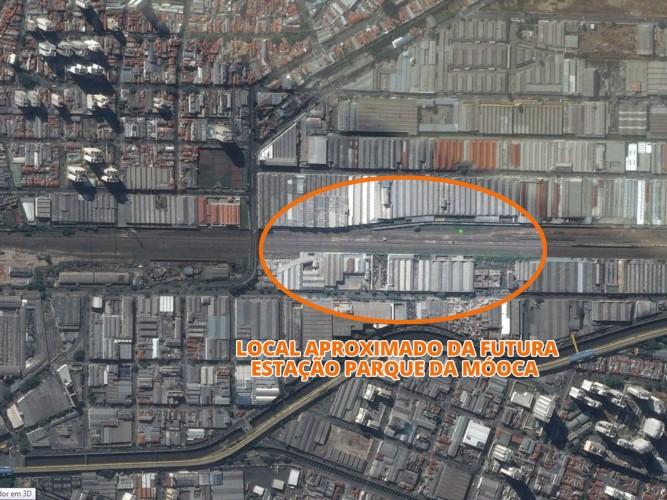 Região onde ficará a futura estalão de integração, próxima ao viaduto São Carlos