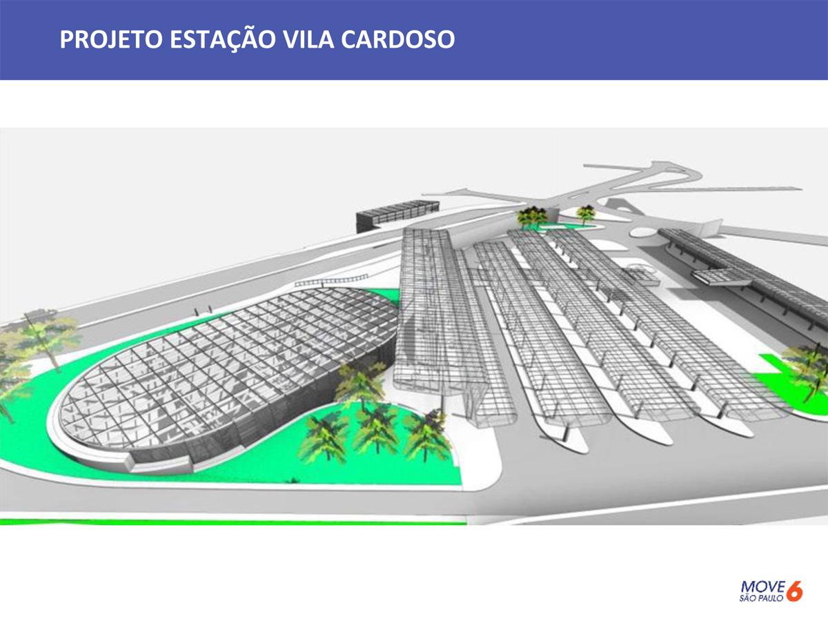 Esquema da estação Vila Cardoso, uma das três a ter um terminal de ônibus