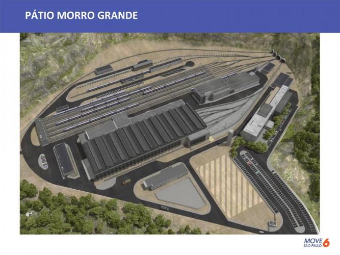 O pátio Morro Grande, onde haverá a manutenção dos trens