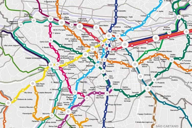 Mapa que mostra o possível desenho de linhas do transporte metroferroviário de São Paulo
