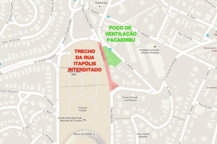 Mapa da interdição da Linha 6 na rua Itápolis, no Pacaembu (imagem produzida com mapa do Google)
