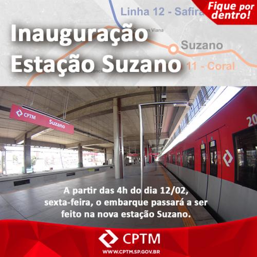 Aviso do site da CPTM anuncia abertura da estação de Suzano nesta sexta