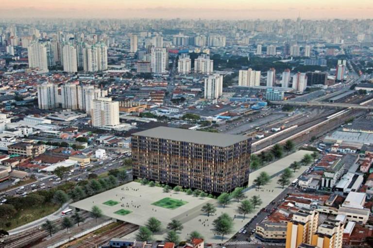 Governo do estado divulgou uma projeção de como ficaria a estação Bresser do Metrô com moradia popular