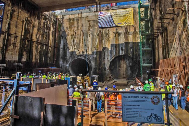 O poço Bandeirantes, de onde partiu o megatatuzão e onde chegaram as duas tuneladoras menores