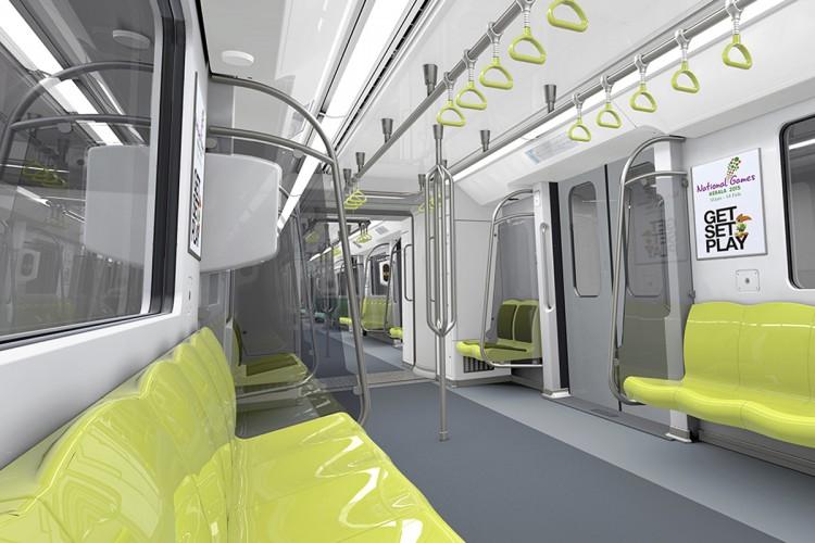 Interior do trem Metropolis do metrô de Kochi, na Índia