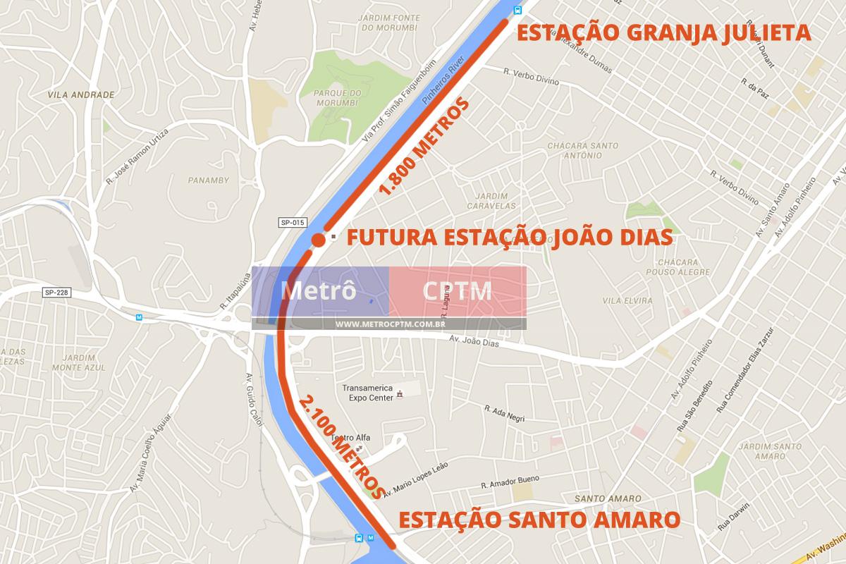 Nova estação João Dias ficará entre paradas Santo Amaro e Granja Julieta