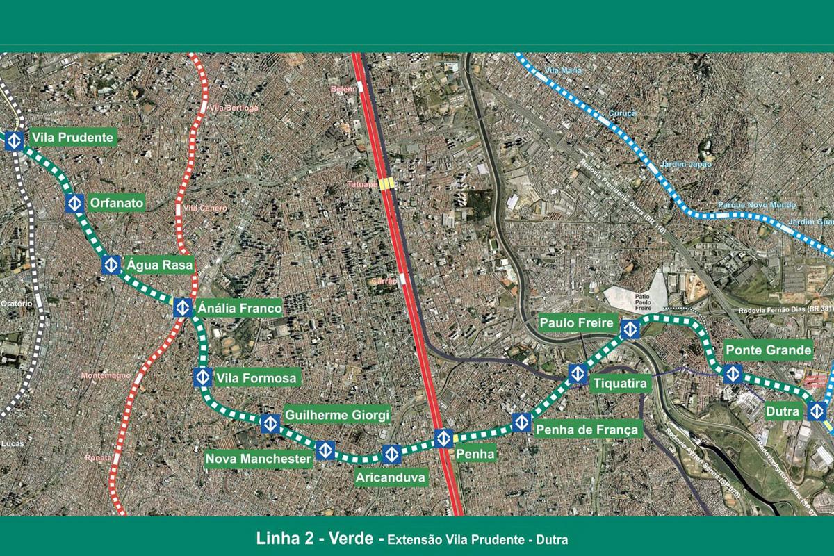 Mapa das estações do prolongamento da Linha 2 - Verde