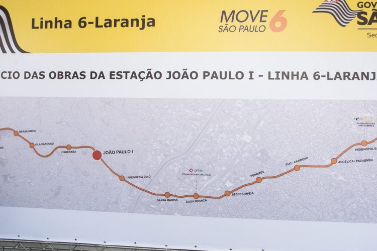 Mapa de implantação da Linha 6