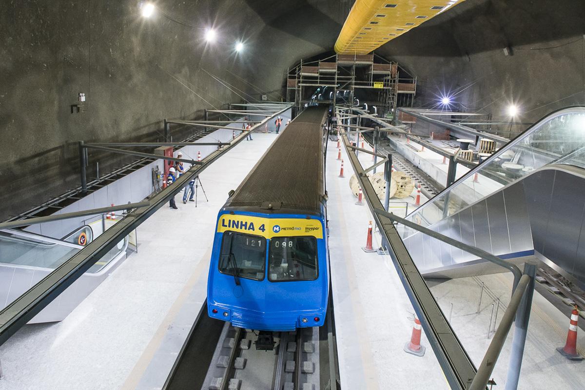 Estação da Linha 4 do Metrô do Rio: em 2016, nenhum quilômetro de trilhos em São Paulo