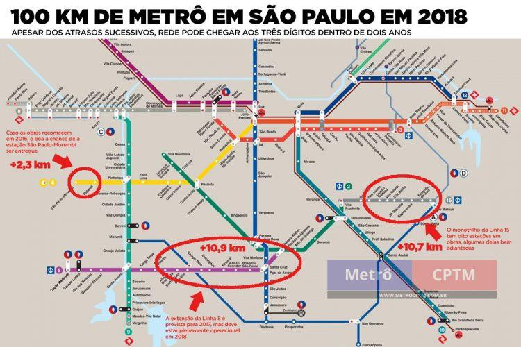 Como ficaria a malha metroferroviária em 2018