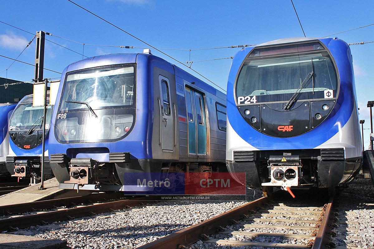 À esquerda, o trem da Frota F, entregue em 2002, e ao seu lado o novo trem da Frota P: mesma bitola