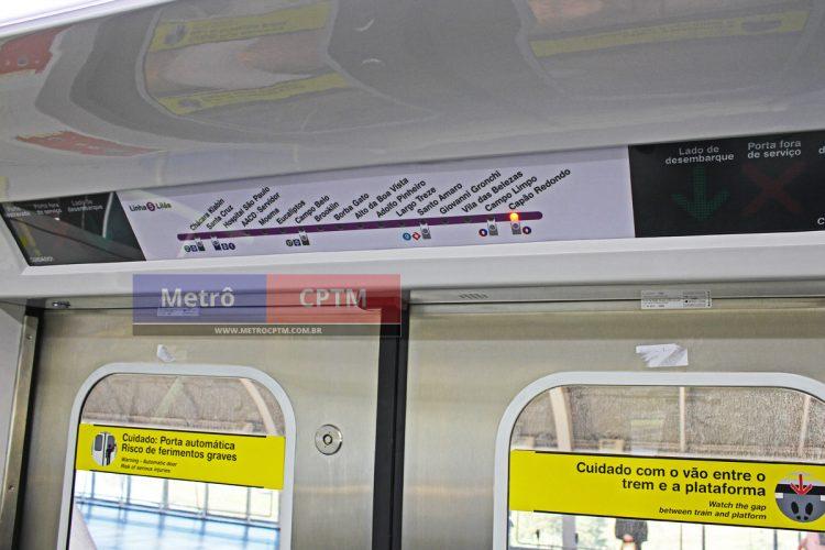 Painel dinâmico do novo trem da Linha 5-Lilás
