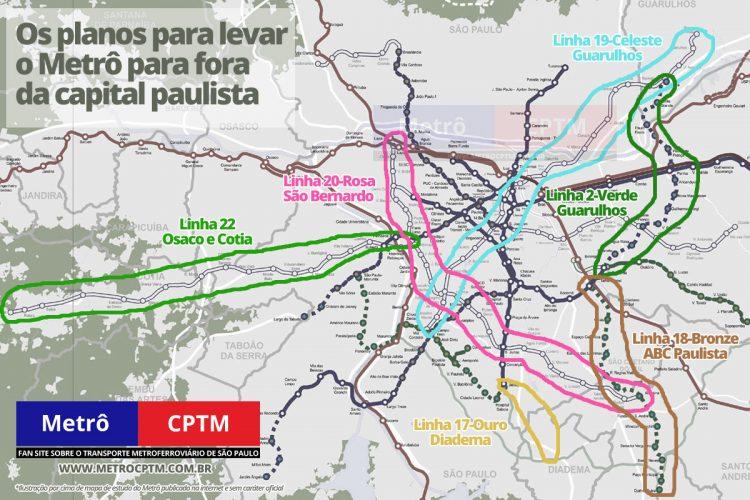 Os projetos mais recentes do Metrô que prevêem estações fora da capital paulista