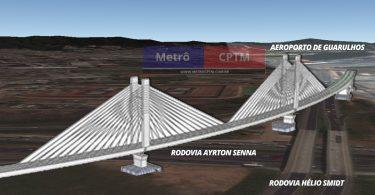 Montagem com imagem do suposto viaduto da Linha 13 Jade: estaiada com 530 metros