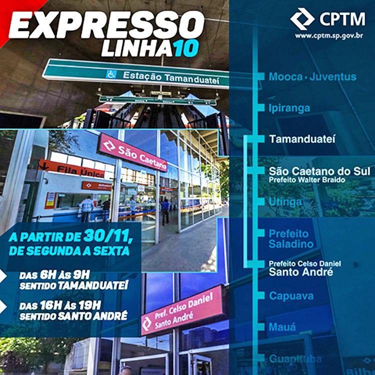 Anúncio do Expresso Linha 10 no Facebook da CPTM