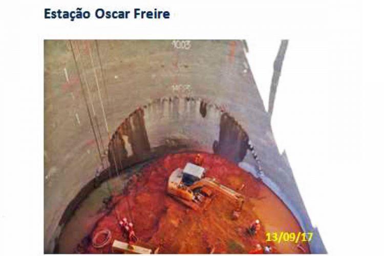 Poço secundário da estação Oscar Freire
