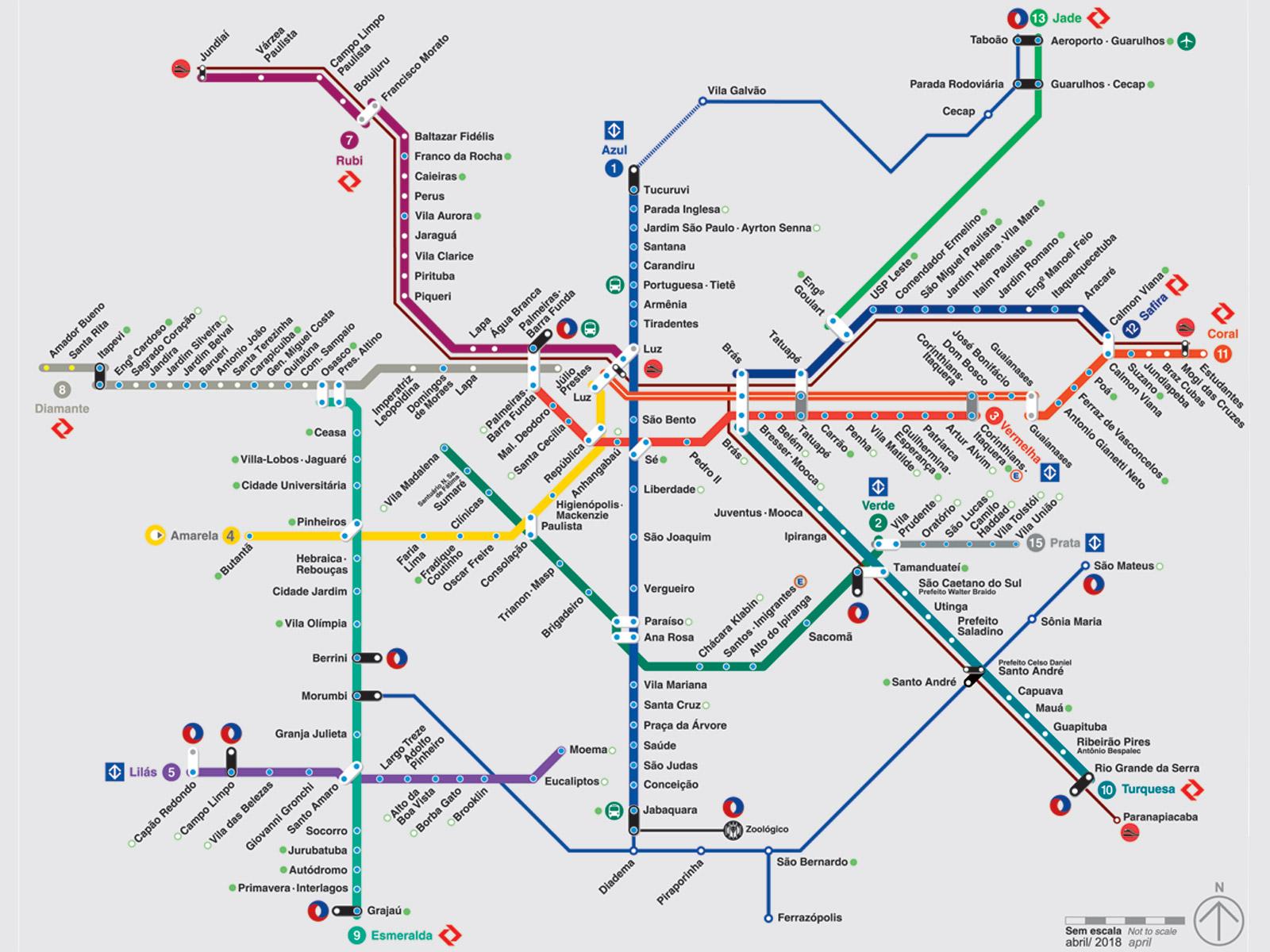 Veja o mapa de esta es do metr e cptm metr cptm for Espejo de 1 metro por 2 metros